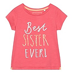 bluezoo - Girls' pink 'Best sister ever!' slogan t-shirt