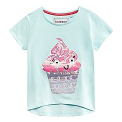 bluezoo - Girls' light green sequined cupcake t-shirt