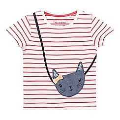 bluezoo - Girls' pink stripe kitten applique t-shirt
