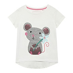 bluezoo - Girls' white sequinned mouse applique t-shirt