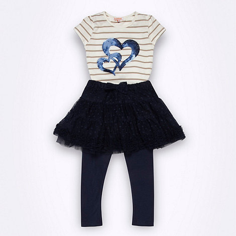 bluezoo - Girl+s navy sequinned top, tutu and leggings set