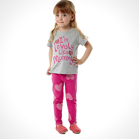 bluezoo - Girl+s pink printed top and leggings set