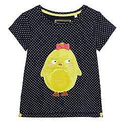 bluezoo - Girls' navy sequinned chick t-shirt