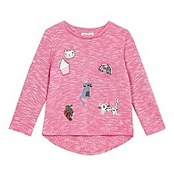 bluezoo - Girls' pink long sleeve cat applique top