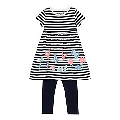 bluezoo - Girls' navy striped print tunic and leggings set
