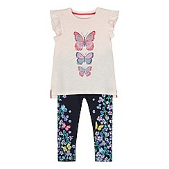 bluezoo - Girls' light pink butterfly print top and leggings set