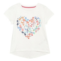 bluezoo - Girls' white glitter butterfly print t-shirt