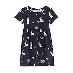 bluezoo - Girls' navy bunny print dress