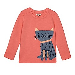 bluezoo - Girls' orange applique cat sweater