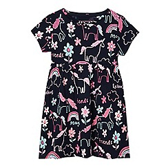 bluezoo - Girls' navy unicorn dress