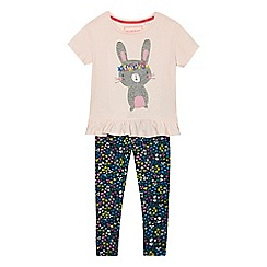 bluezoo - Girls' light pink bunny applique top and leggings set