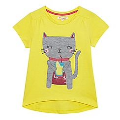 bluezoo - Girls' yellow cat print t-shirt