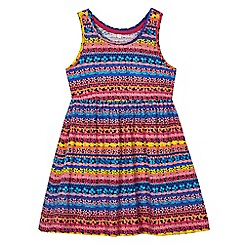 bluezoo - Girls' navy striped floral print dress