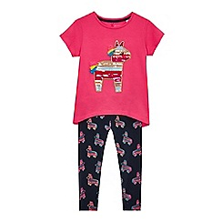 bluezoo - Girls' pink pinata applique top and leggings set