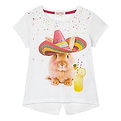 bluezoo - Girls' white bunny print t-shirt