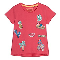 bluezoo - Girls' pink badge applique t-shirt