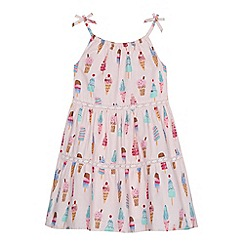bluezoo - Girls' light pink ice cream print tiered dress