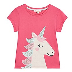 bluezoo - Girls' pink unicorn applique t-shirt