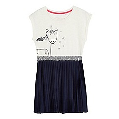 bluezoo - Girls' white and navy unicorn print dress