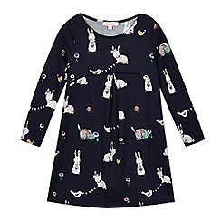 bluezoo - Girls' navy bunny print dress