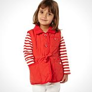 Designer girl's red quilted gilet
