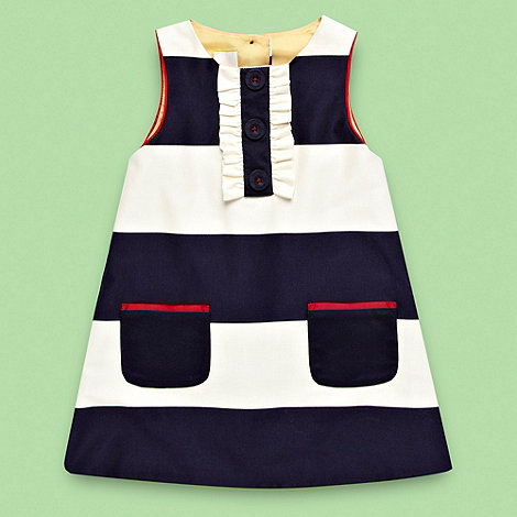 J by Jasper Conran - Designer girl+s navy block striped a-line dress