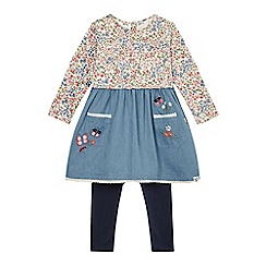 Mantaray - Girls' floral print chambray dress and navy leggings set
