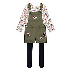 Mantaray - Girls' khaki dungarees, top and leggings set
