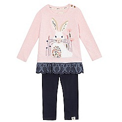 Mantaray - Girls' pink rabbit print top and leggings set