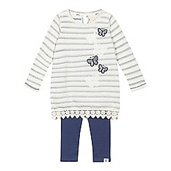 Mantaray - Girls' cream butterfly applique top and blue leggings set