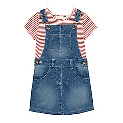 Mantaray - Girls' blue denim dress and t-shirt set