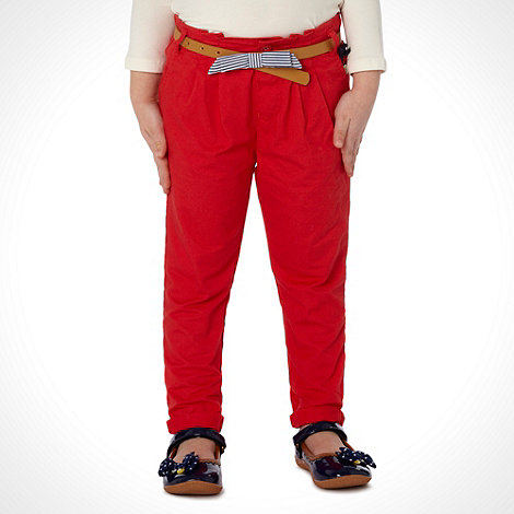 J by Jasper Conran - Designer girl+s red bow belt chinos