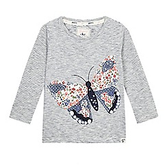 Mantaray - Girls' navy striped butterfly applique top