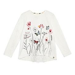 Mantaray - Girls' natural sequin flower print long sleeve top