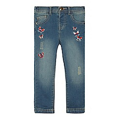 Mantaray - Girls' blue floral embroidered jeans