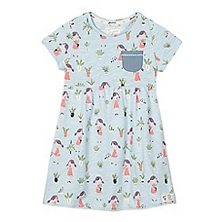 Mantaray - Girls' light blue plant print jersey dress