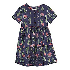 Mantaray - Girls' navy cactus print dress