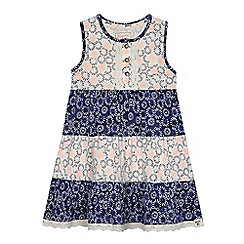 Mantaray - Girls' blue and white patterned tiered dress