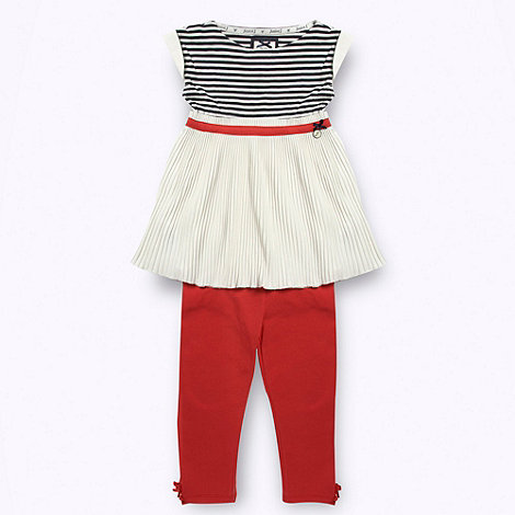 J by Jasper Conran - Designer girl+s red and white pleated tunic and leggings set