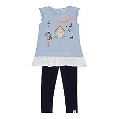 Mantaray - Girls' blue striped applique top and leggings set