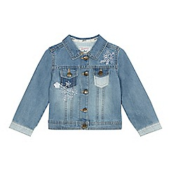 Mantaray - Girls' blue patchwork denim jacket