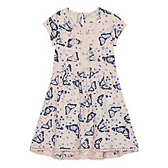 Mantaray - Girls' light pink butterfly print crochet detail dress