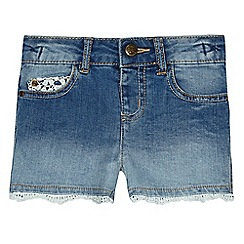 Mantaray - Girls' blue crochet denim shorts
