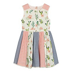 Mantaray - Girls' navy cactus print panelled dress