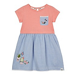 Mantaray - Girls' pink and blue cactus applique dress