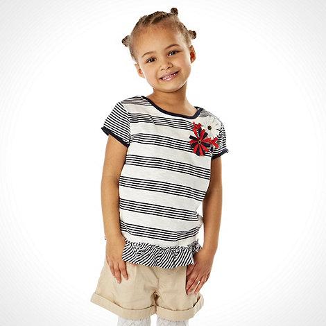 J by Jasper Conran - Designer girl+s navy striped corsage tee