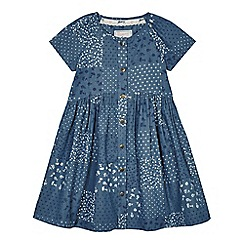 Mantaray - Girls' navy patchwork print denim dress