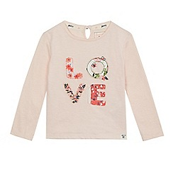 Mantaray - Girls' pink floral patchwork 'Love' top