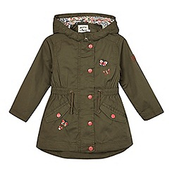Mantaray - Girls' khaki butterfly embroidered parka coat