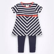 Designer girl's navy jersey tunic & leggings set
